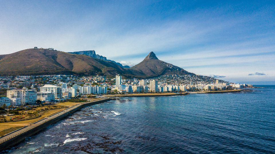 Cape coastline with Signal Hill, Lion's Head and Table Mountain in South Africa