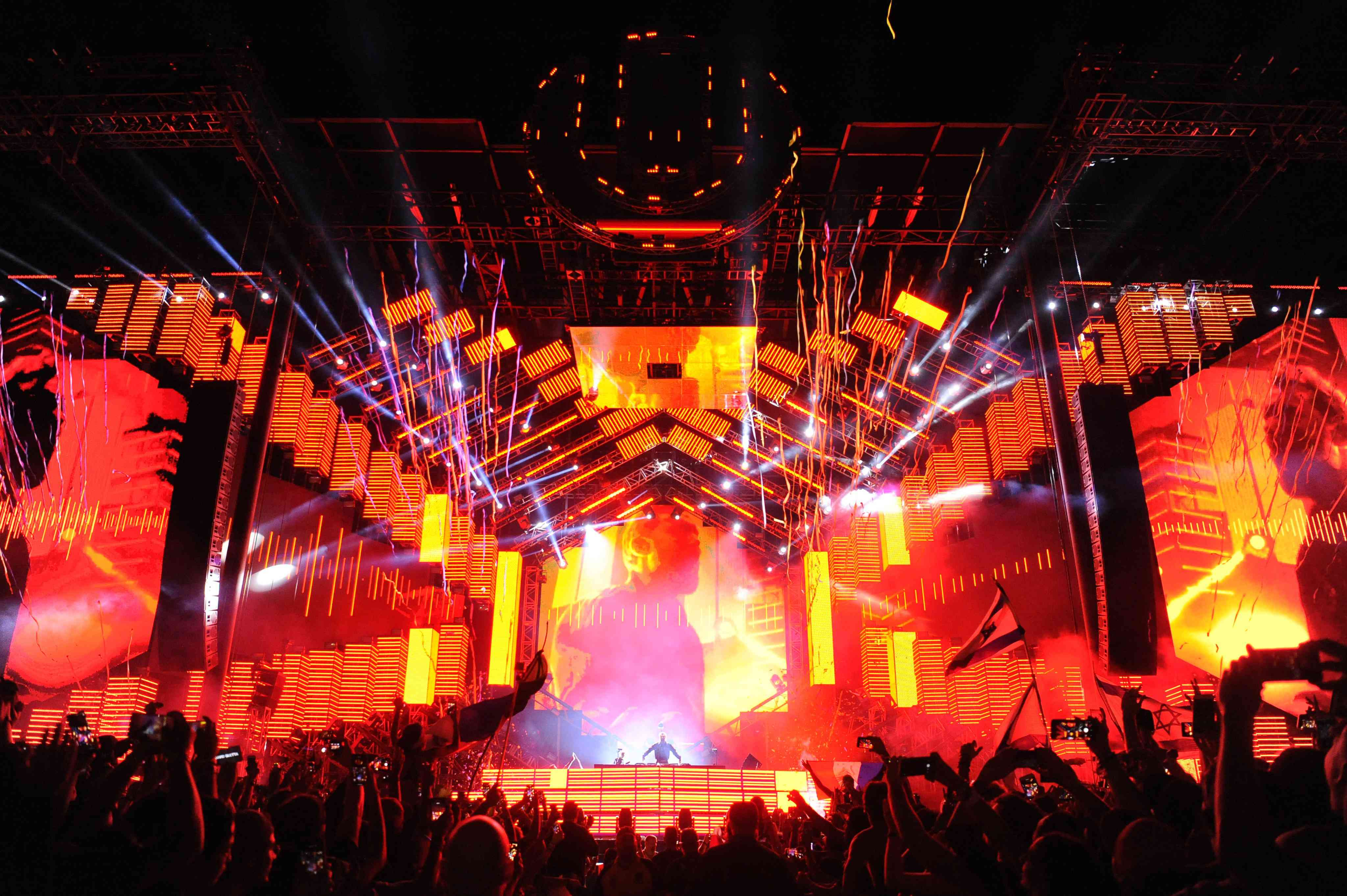 David Guetta performs on stage at Ultra Music Festival at Bayfront Park