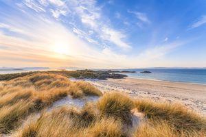 Scenic view of Camusdarach Beach against sky, Lochaber, Scotland, UK