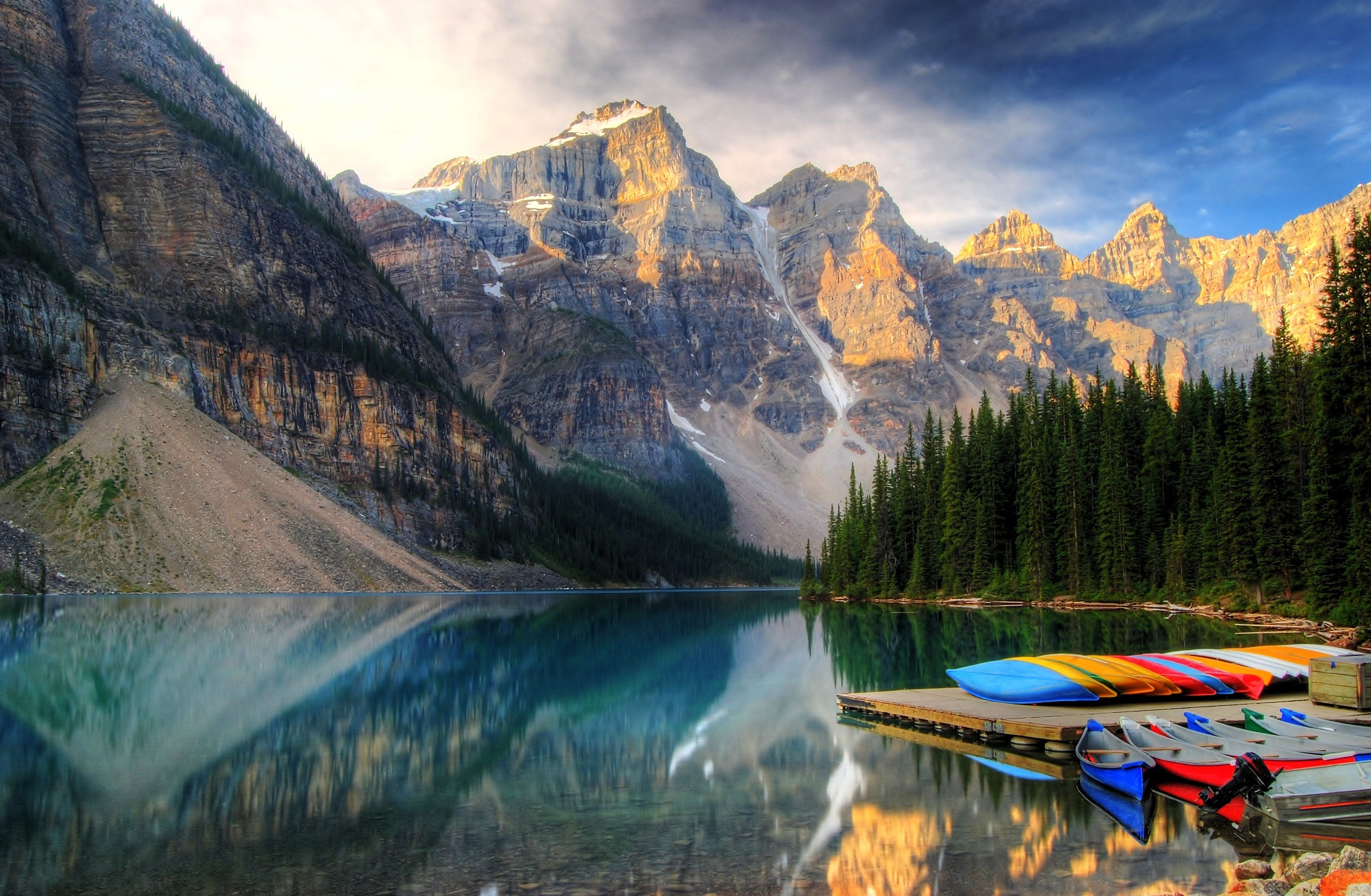 colourful canoes in western Canada