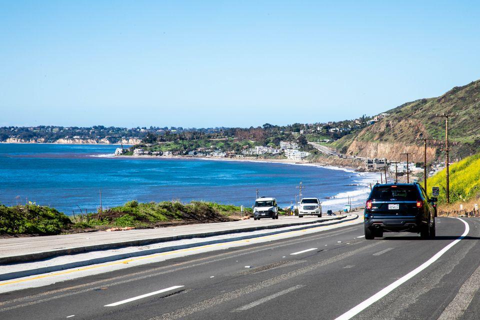 Cars driving down to Malibu