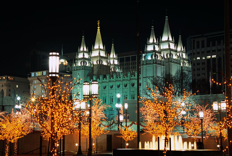 Decorated Trees in Front of Salt Lake Temple at Night