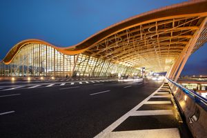 Shanghai, China. Architectural details of the exterior of Terminal 2, Pudong International Airport.