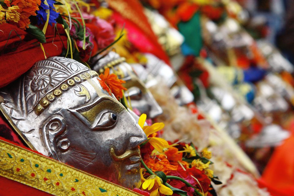 Gods at Hadimba temple festival, Manali.
