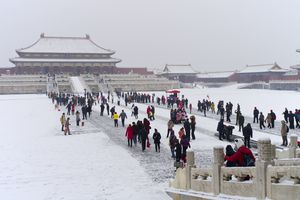 People at the Forbidden City in January