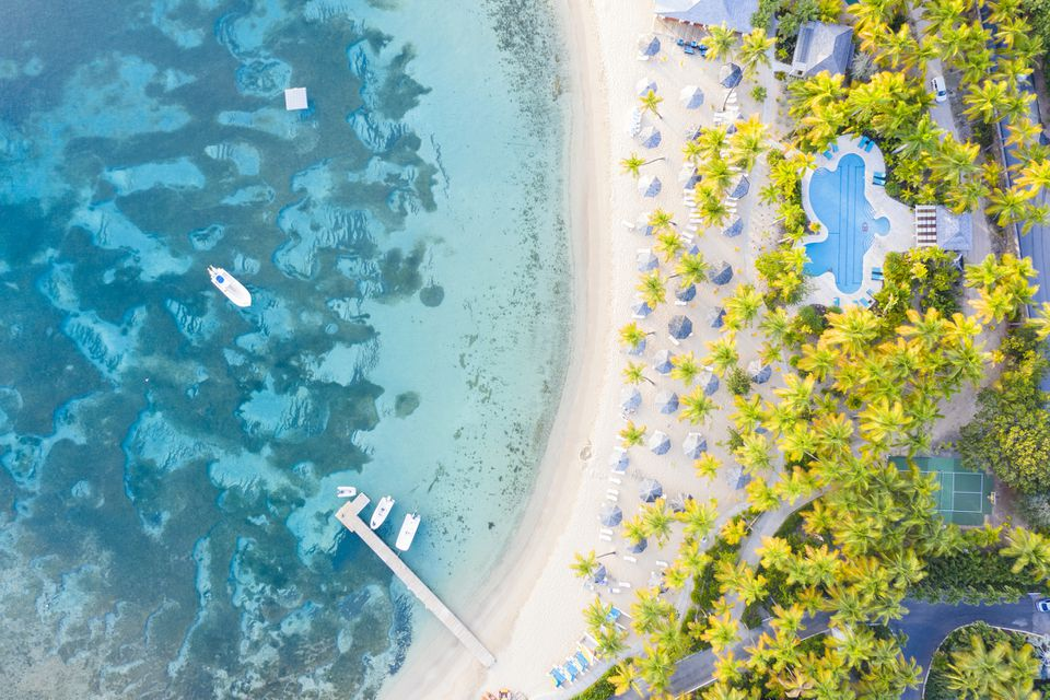 Playa bordeada de palmeras desde arriba, Mar Caribe