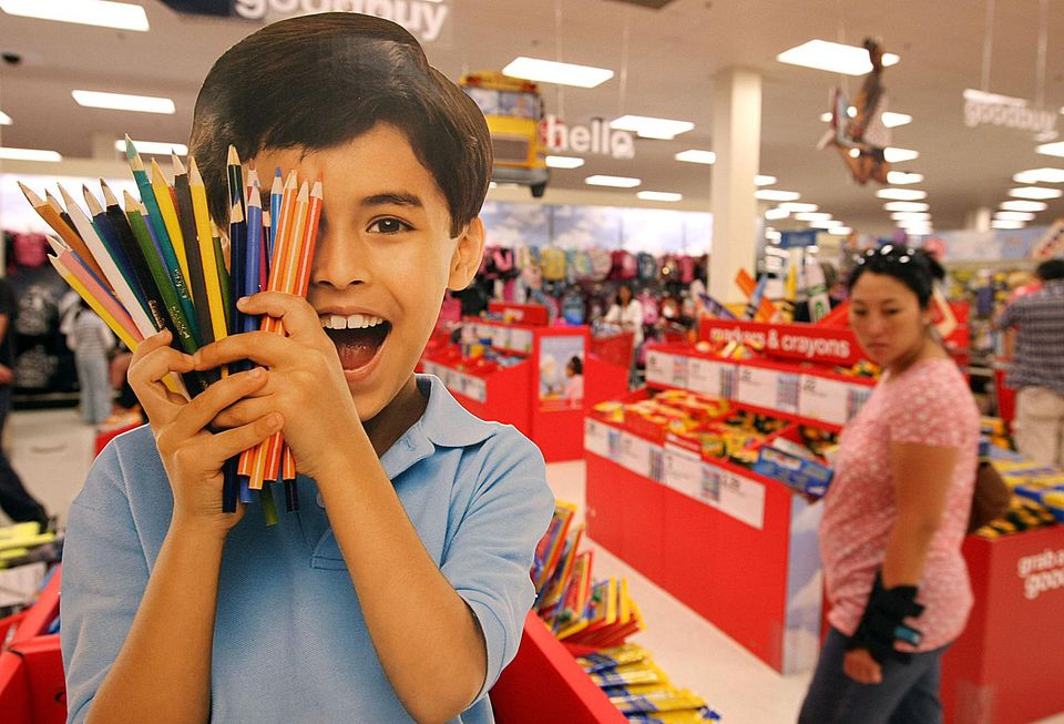 Shopping for school supplies in big box store