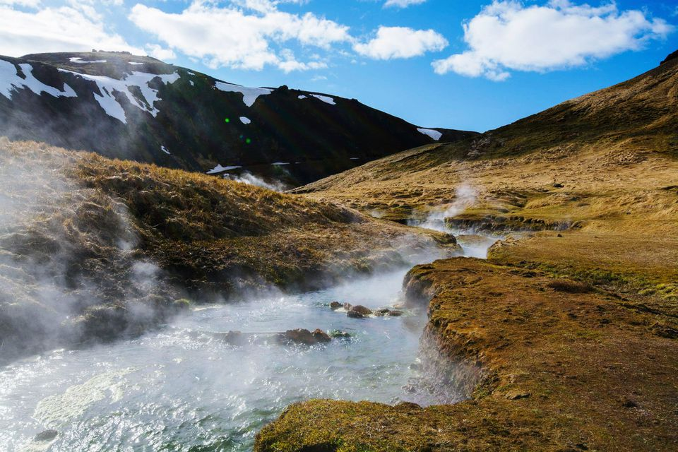 a steaming stream in Reykjadalur Valley
