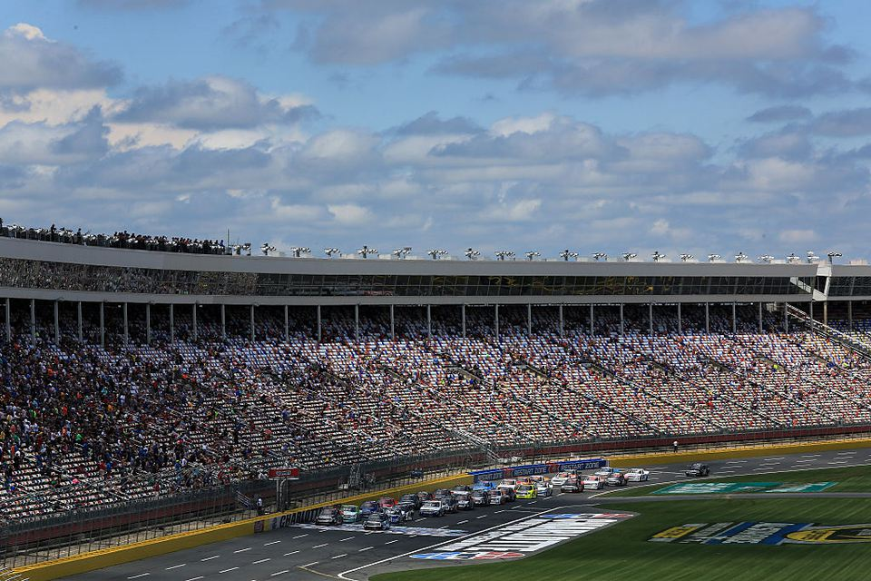 A general view of the track during the NASCAR Camping World Truck Series North Carolina Education Lottery 200 at Charlotte Motor Speedway on May 21, 2016 in Charlotte, North Carolina