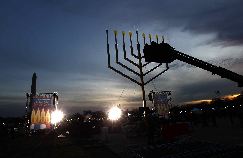 National Hanukkah Menorah Lighting Ceremony Held On DC's Ellipse