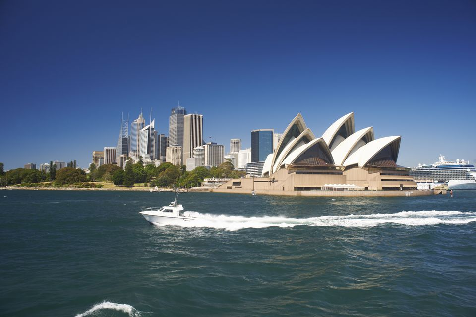 Sydney Opera House from the water in Sydney, Australia