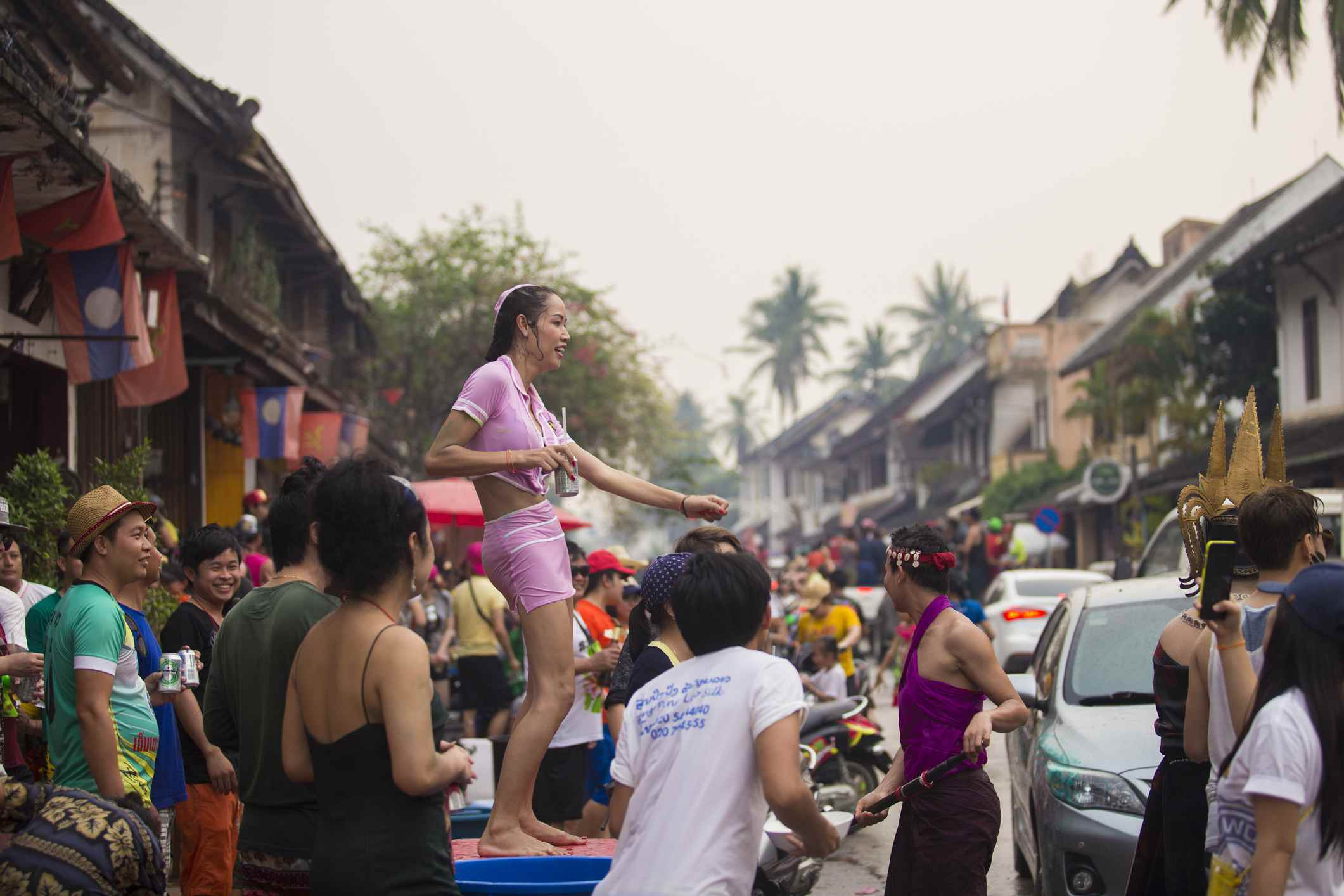 Tourists splashing each other in Luang Prabang