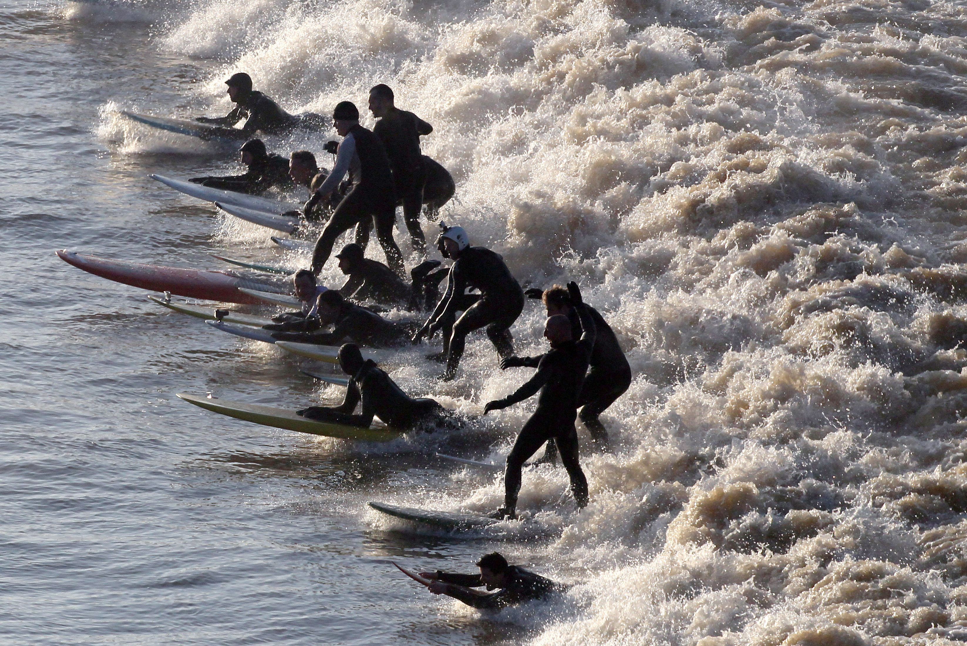 Surfers Enjoy One Of The Best Severn Bore's In Many Years
