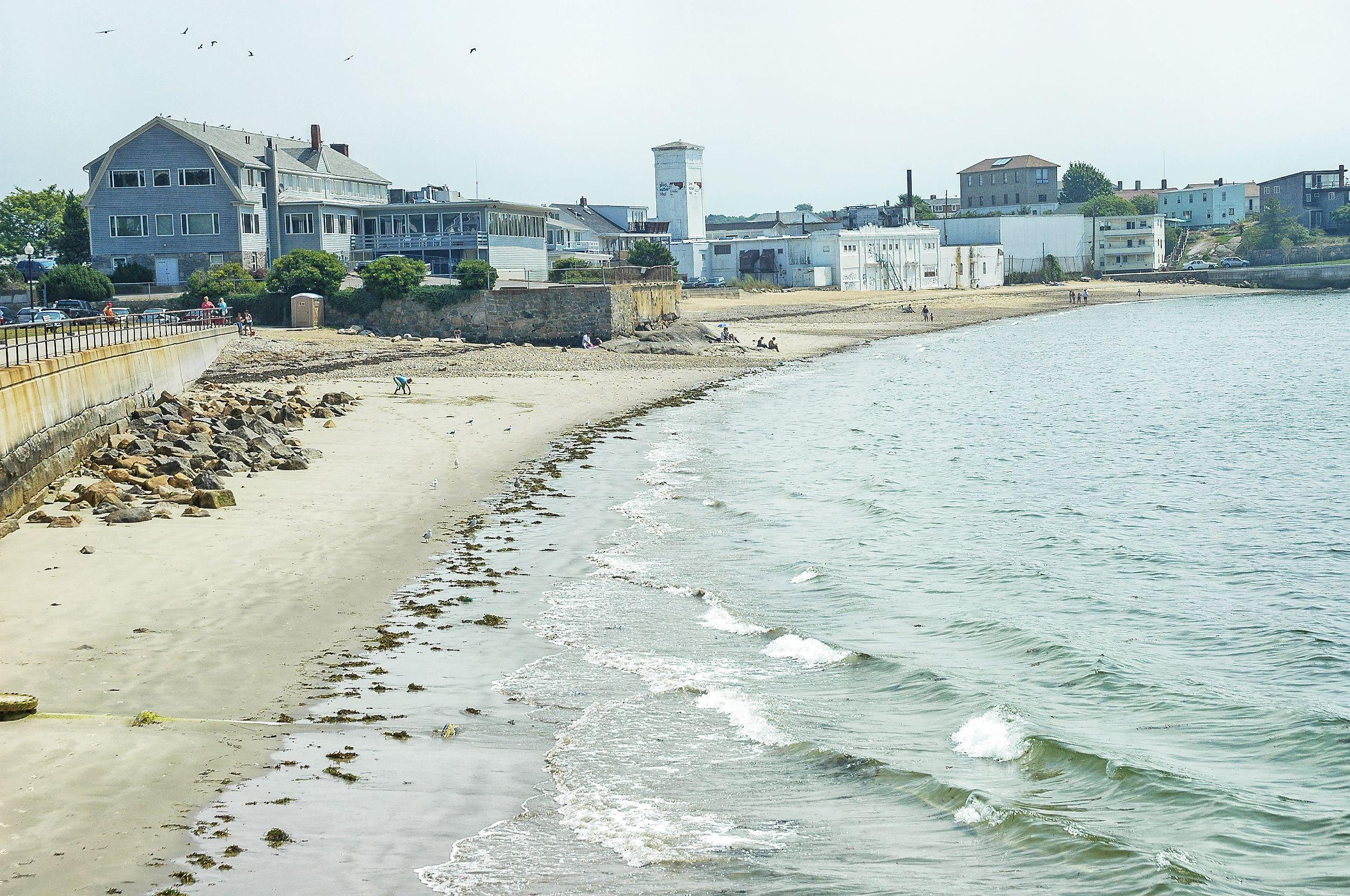 Gloucester Massachusetts shore line with beach