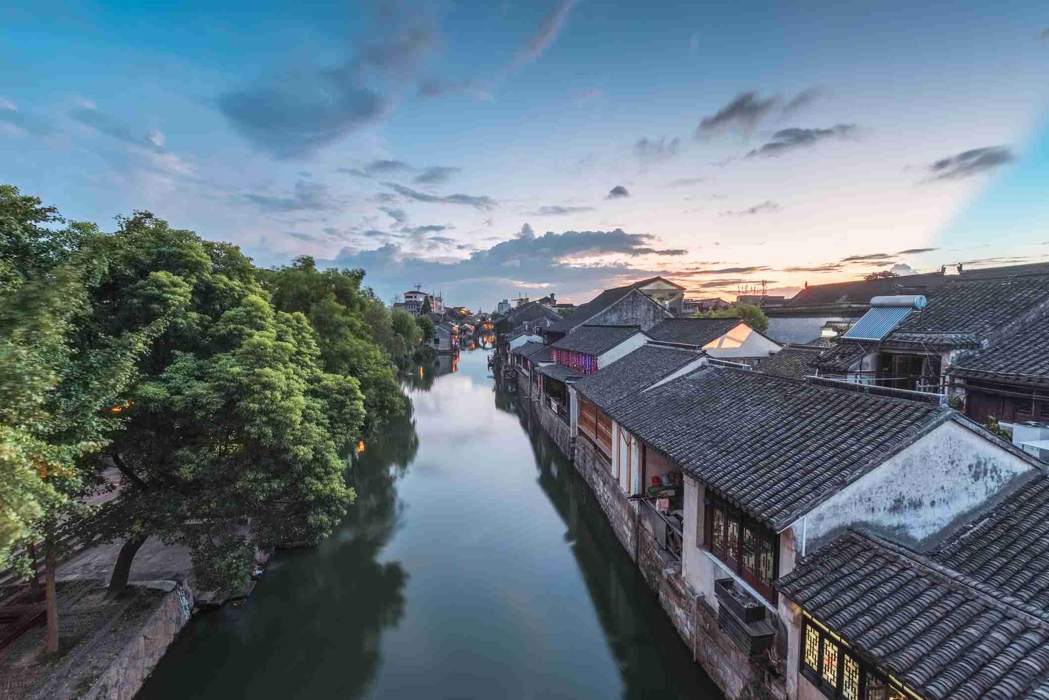 Ancient Water Town Colorful Dusk View, Nanxun