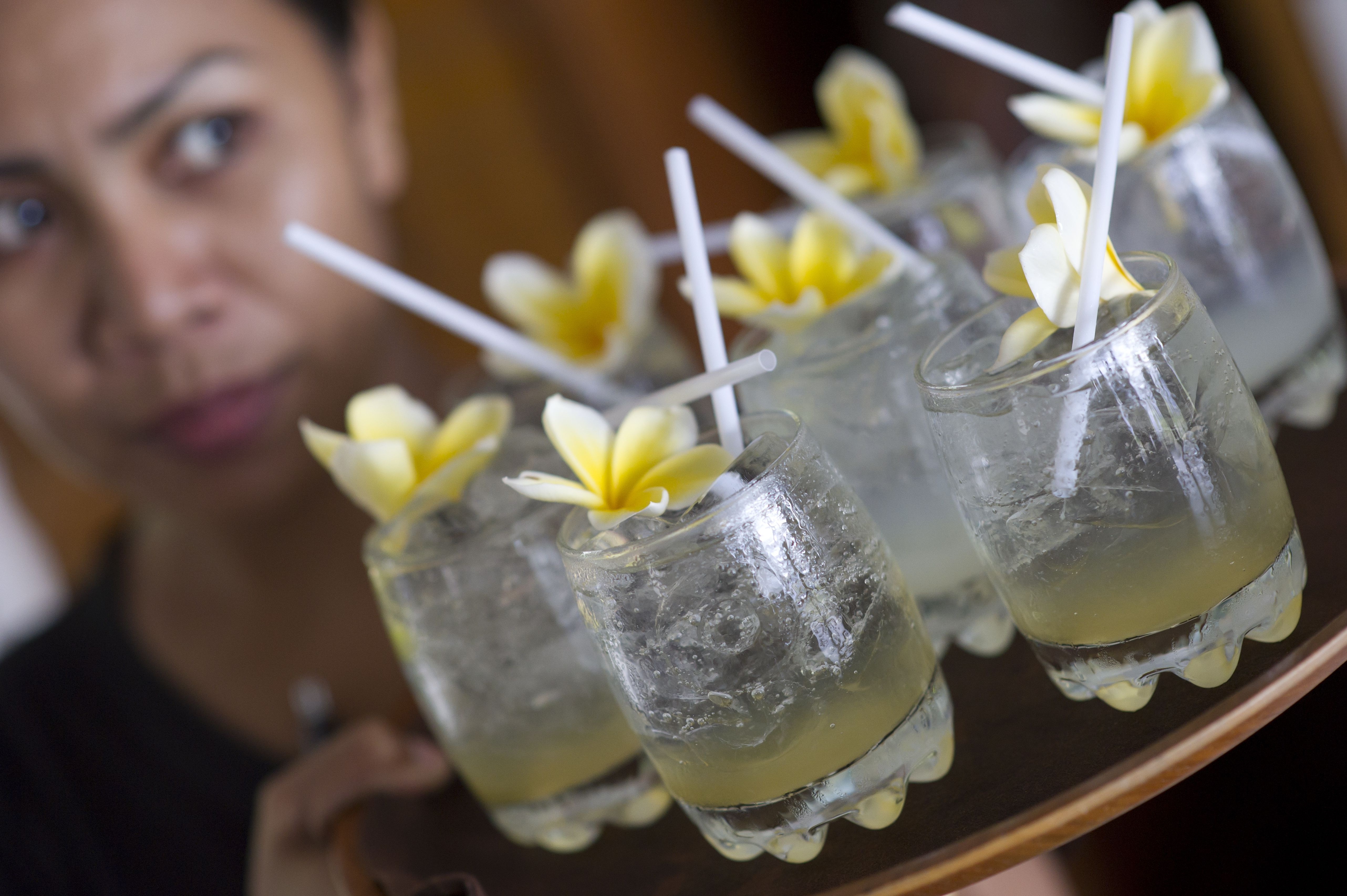 A tray of cocktails in Bali