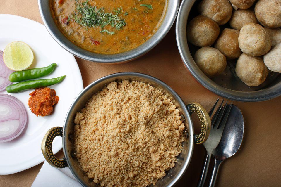 Dal bati churma served on a table