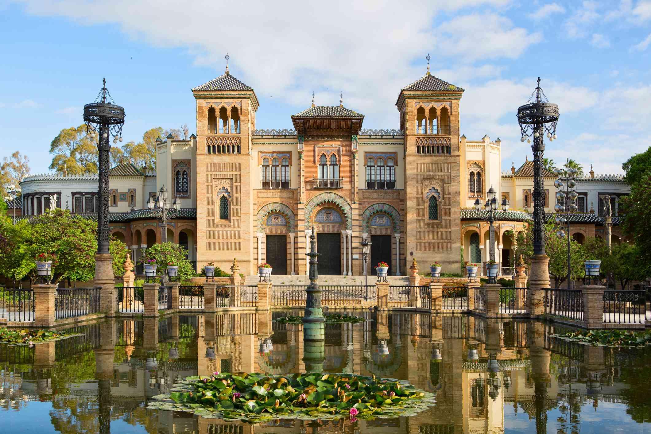 Plaza de America in the sunny morning, Parque de Maria Luisa, Seville, Andalusia, Spain.