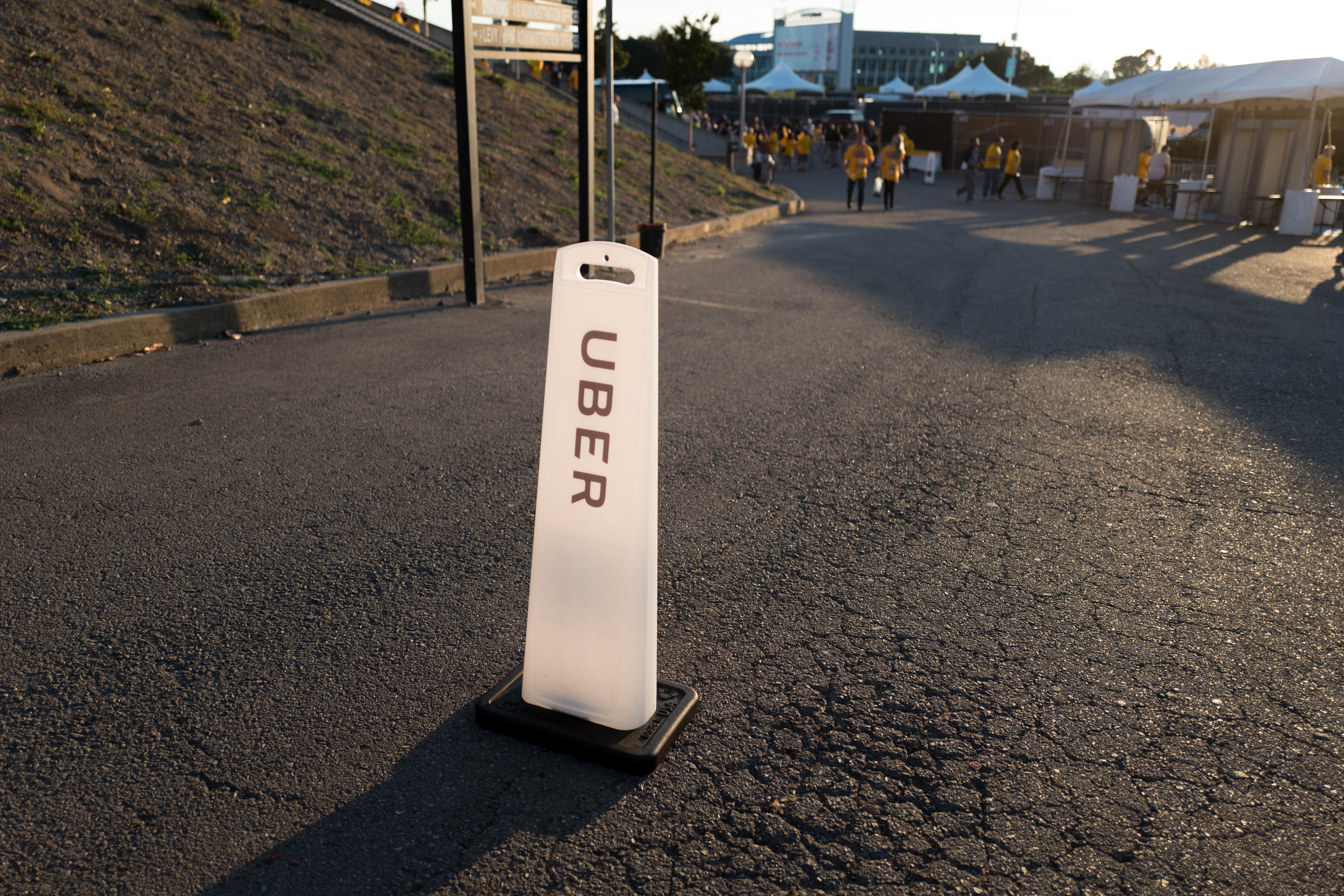 An Uber stand near Oracle Arena.