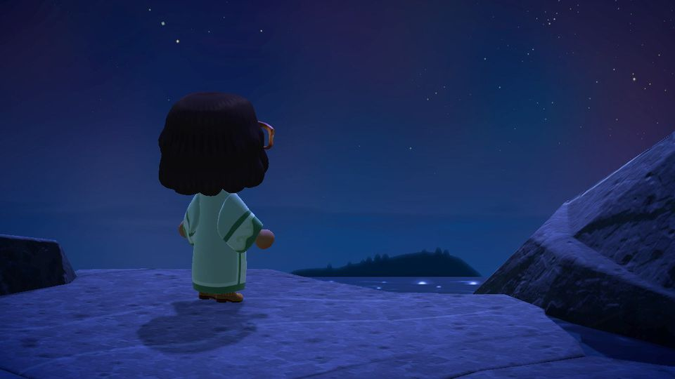 Animal Crossing game at night