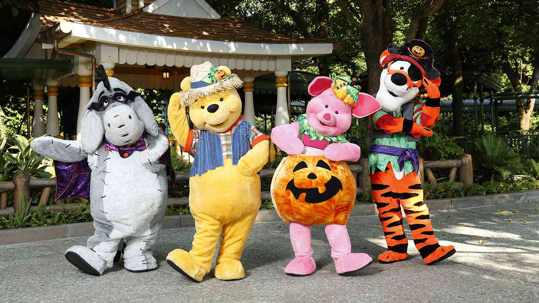 Winnie the Pooh and friends in costume, Hong Kong Disneyland