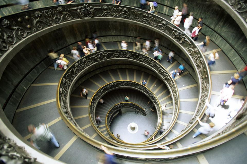 Bramante's Staircase, Vatican Museum, overhead view