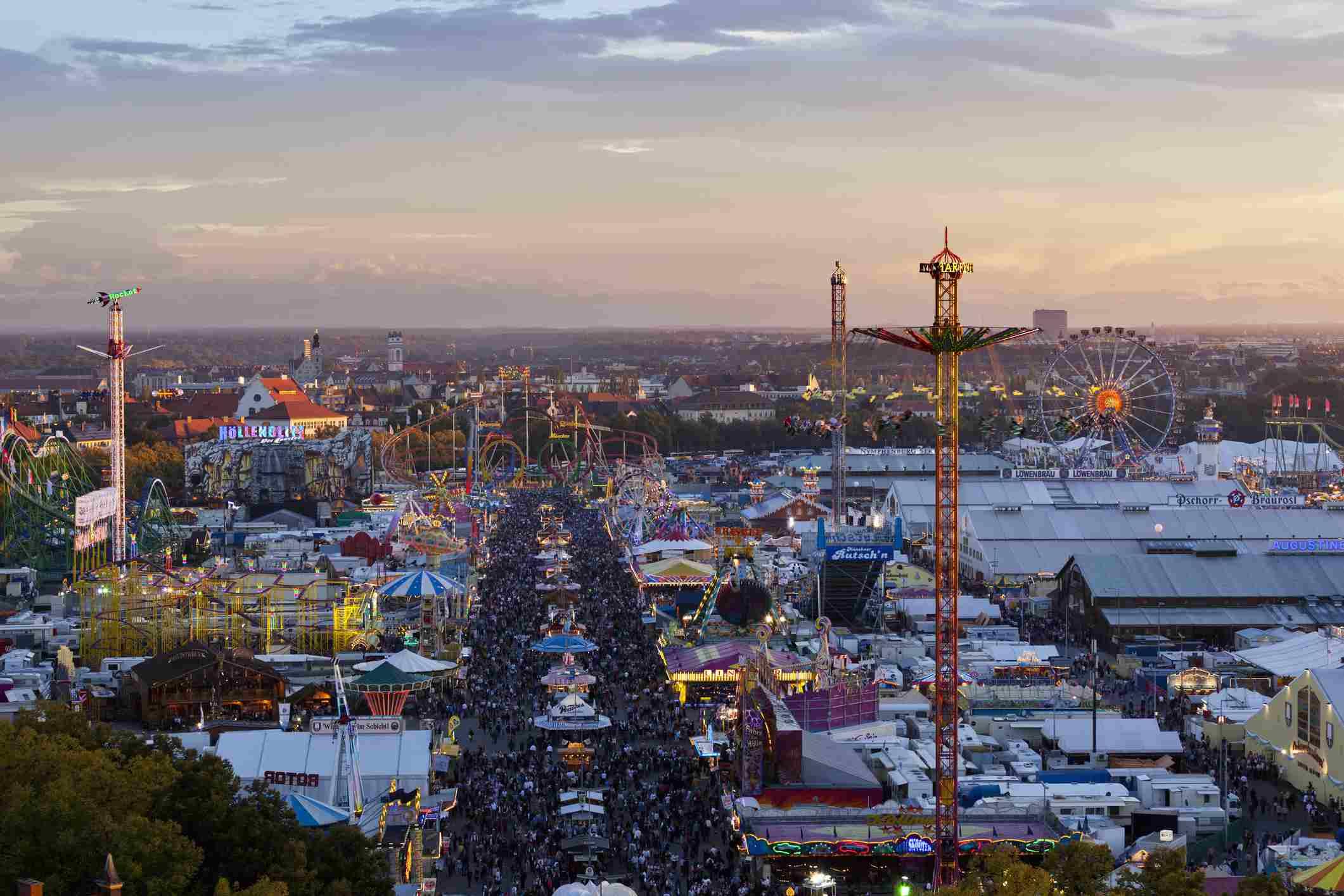Munich, Germany, view of Oktoberfest fair at dusk