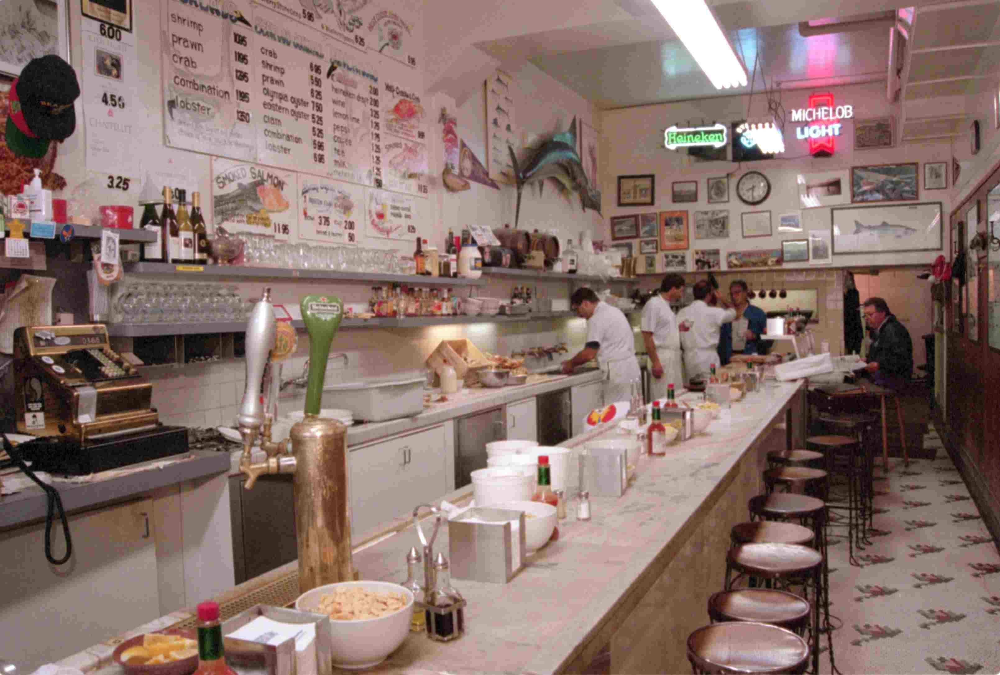 Interior of Swan Oyster Depot Restaurant