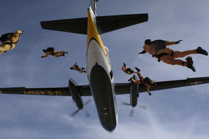 Golden Knights jumping out of a plane