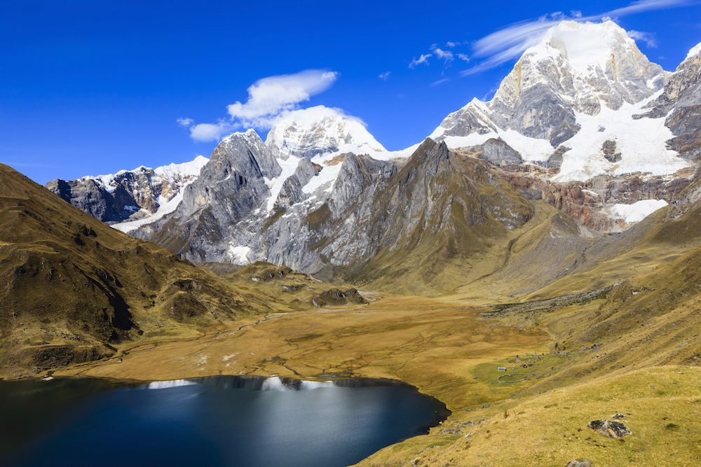 The Andes Mountains over an alpine lake