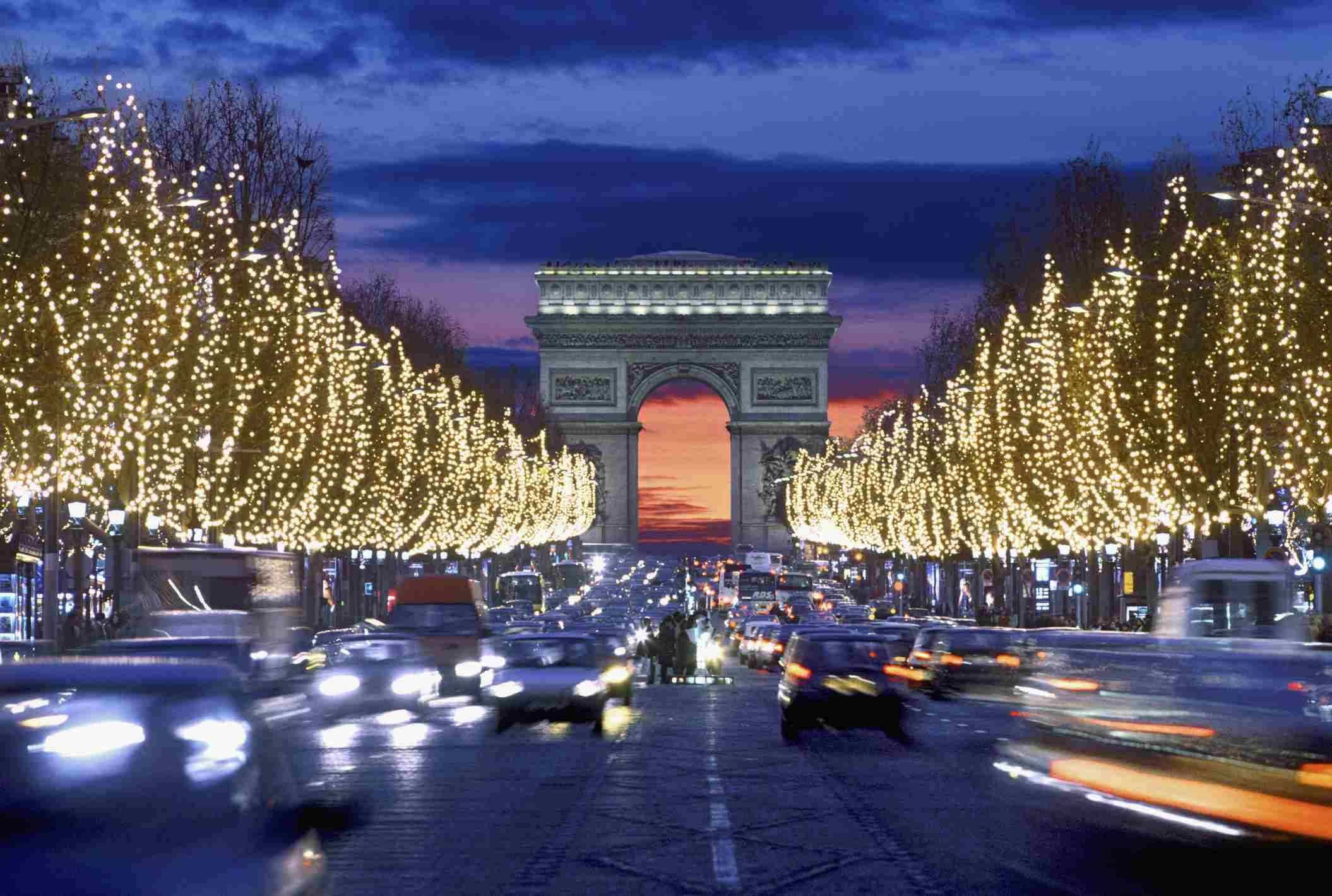 Christmas lights on the Champs-Elysées in Paris