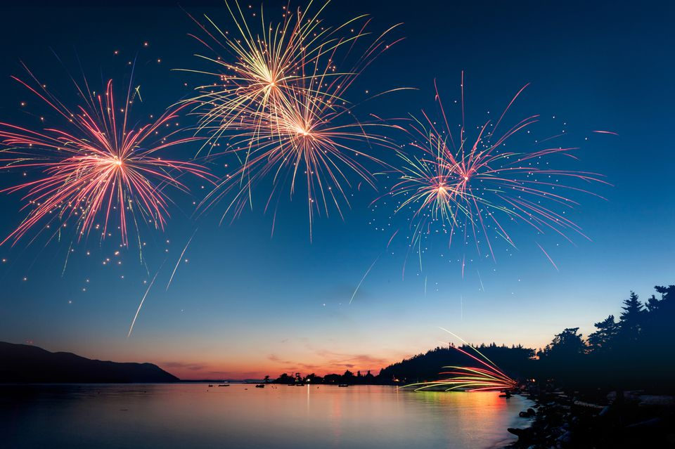Fireworks over River