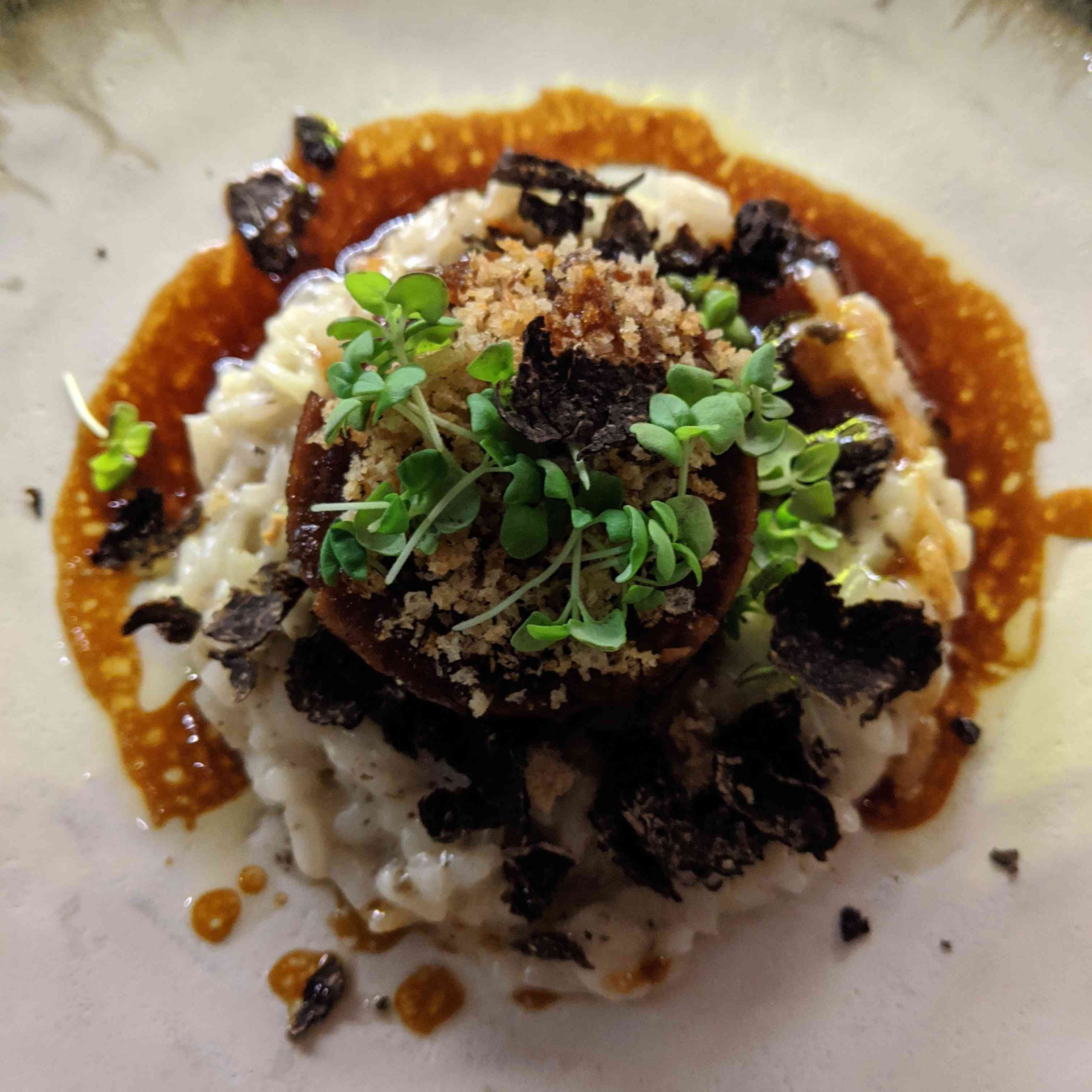 overhead photo of risotto with black truffle shavings and garnished with sprouts