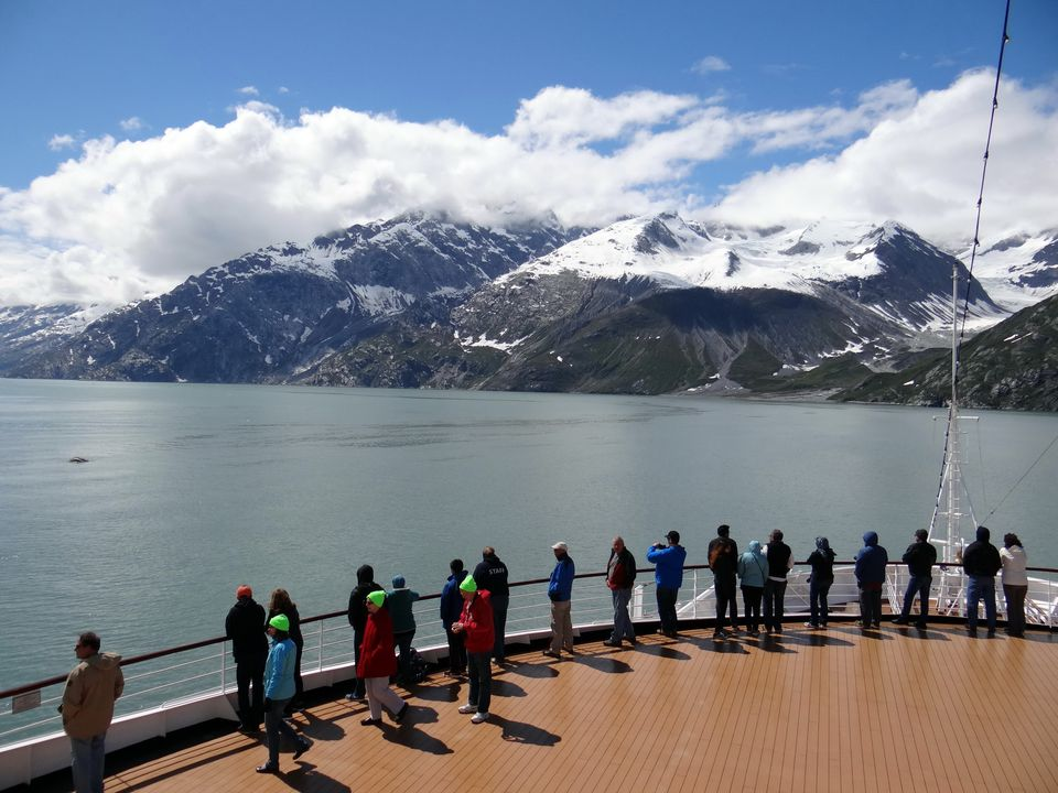 Glacier Bay Alaska tourists on cruise ship