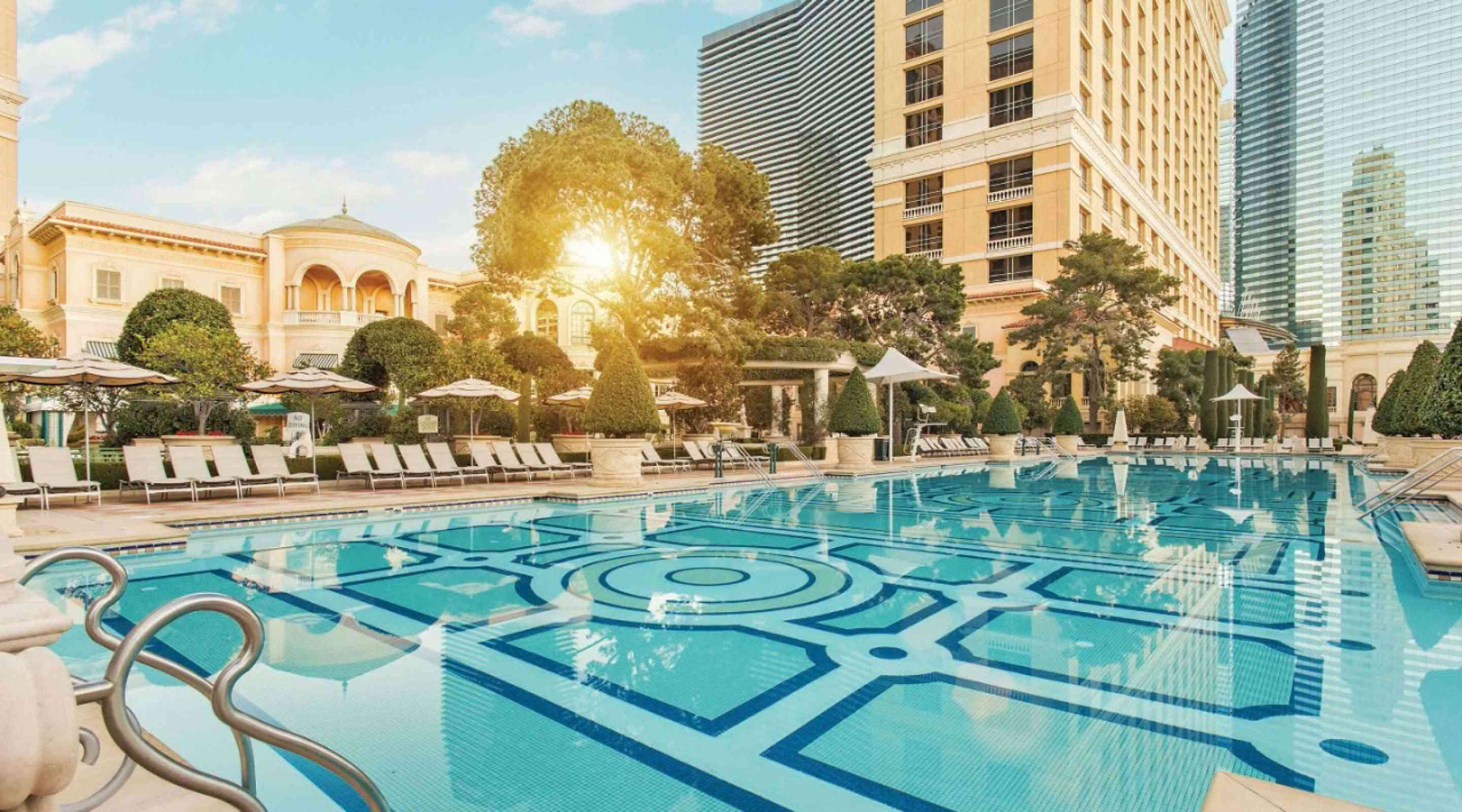 large empty pool at Bellagio Las Vegas with soft light