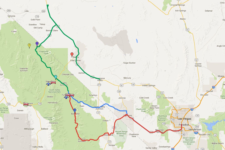 Rutas de conducción de Las Vegas al Valle de la Muerte