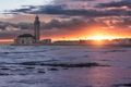 Twilight over Hassan II Mosque as seen from the sea, Casablanca