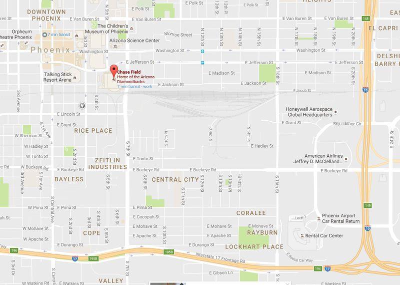 Mapa de Chase Field en Phoenix