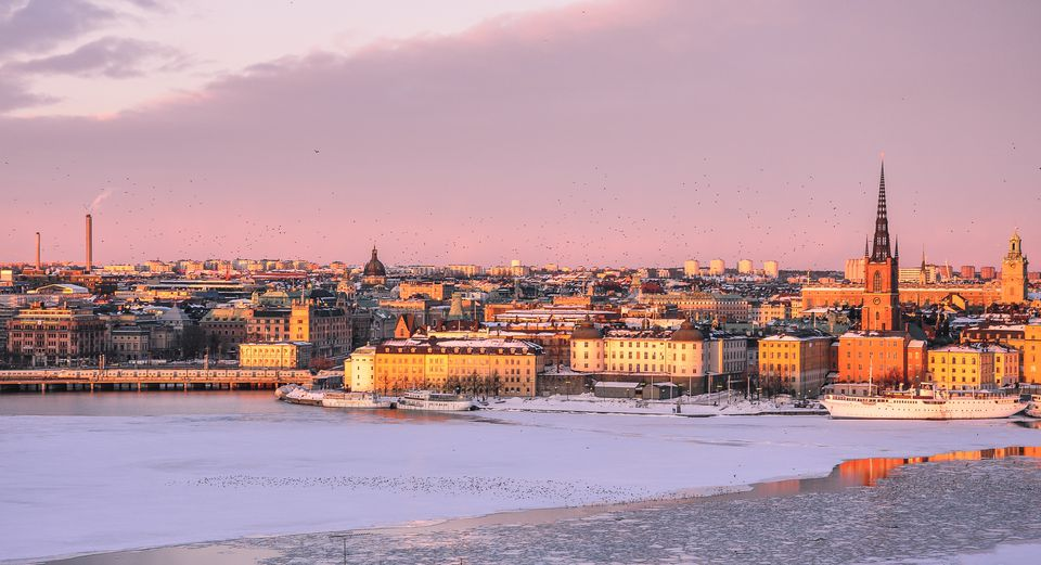 Winter sunset Stockholm skyline