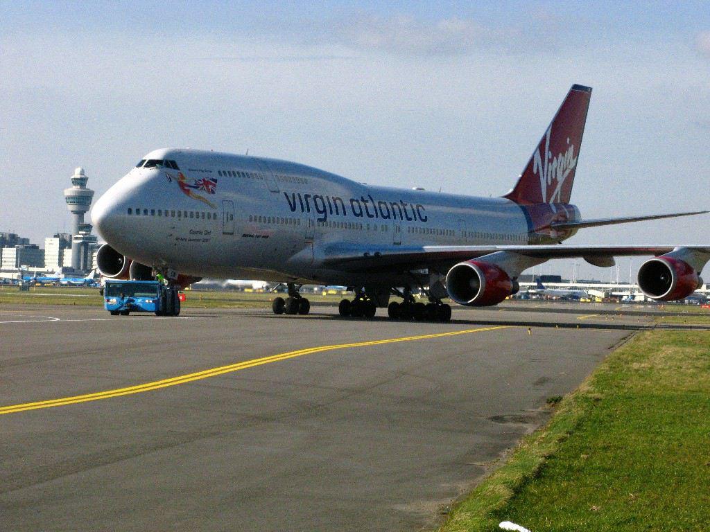 Virgin Atlantic 747 on the runway.