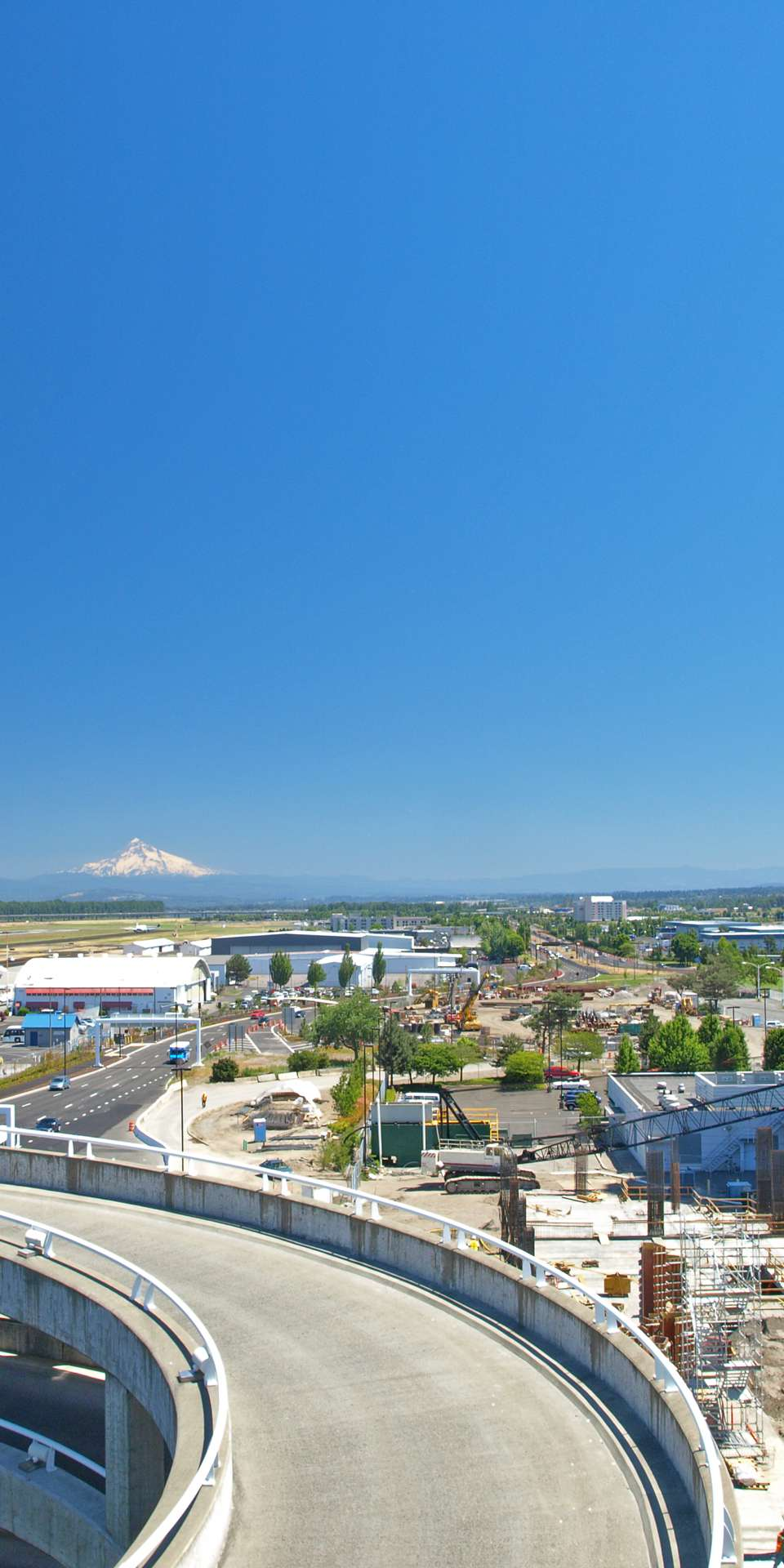 Porland International Airport, Portland, Oregon, with Mount Hood in the distance