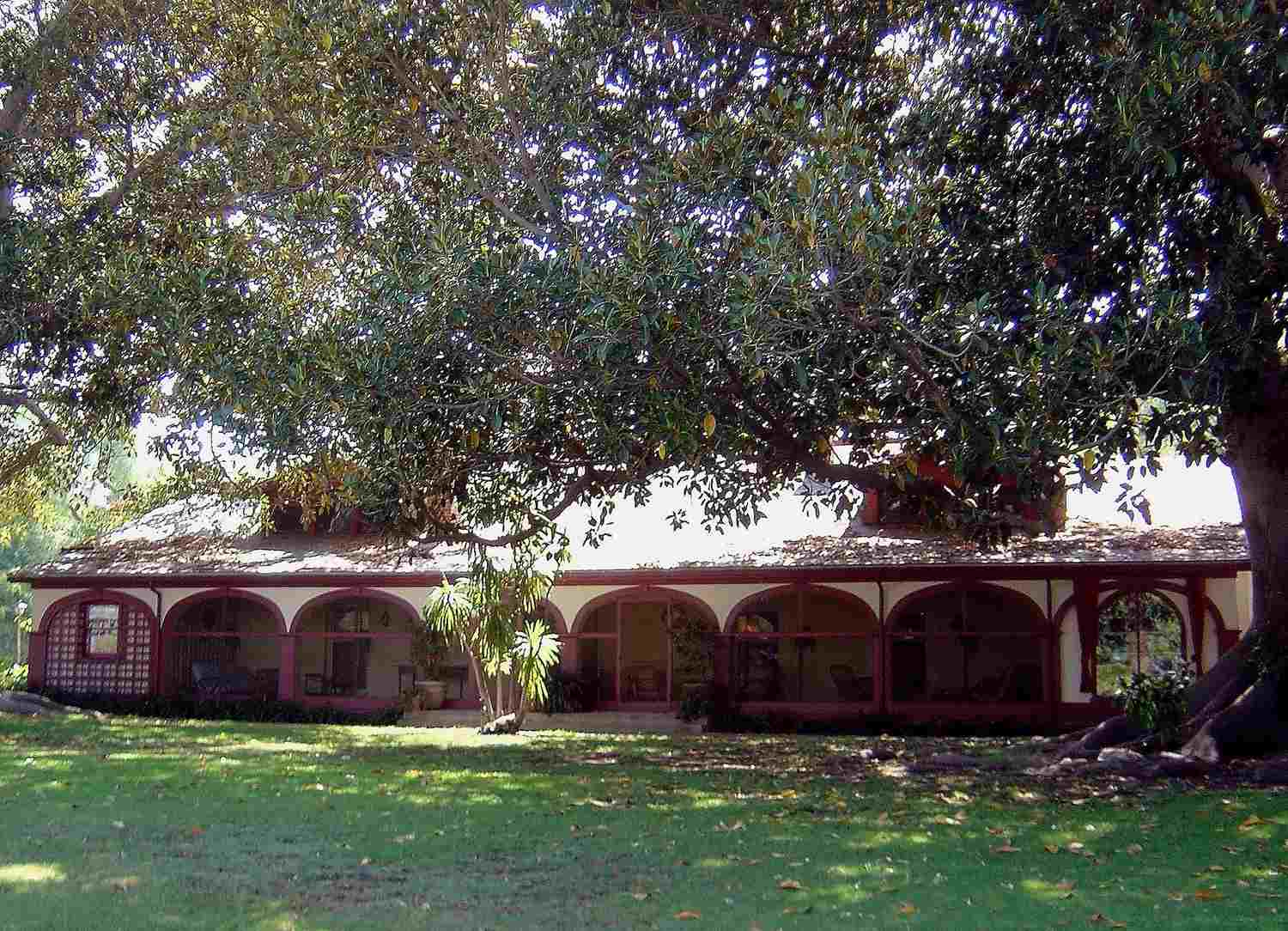 The exterior of the adobe house at Rancho Los Alamitos historic house museum, gardens, and park, in Long Beach