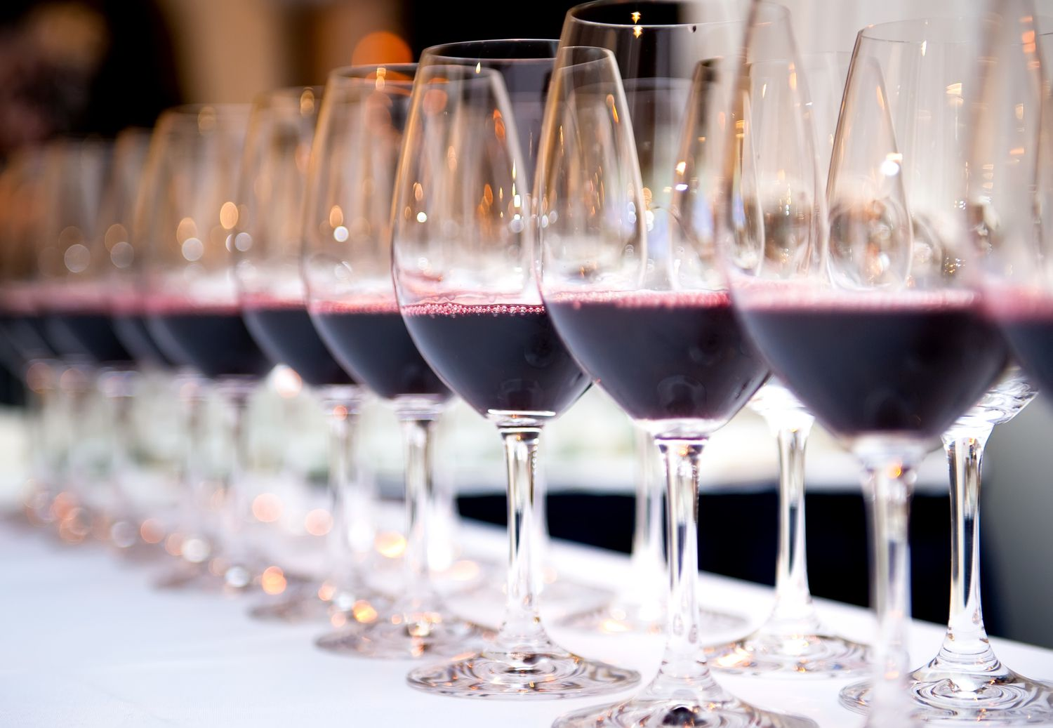 wine glasses lined up