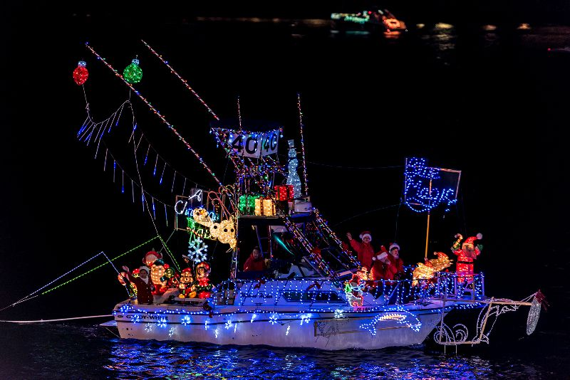 Decorated boat in the Marina del Rey Boat Parade