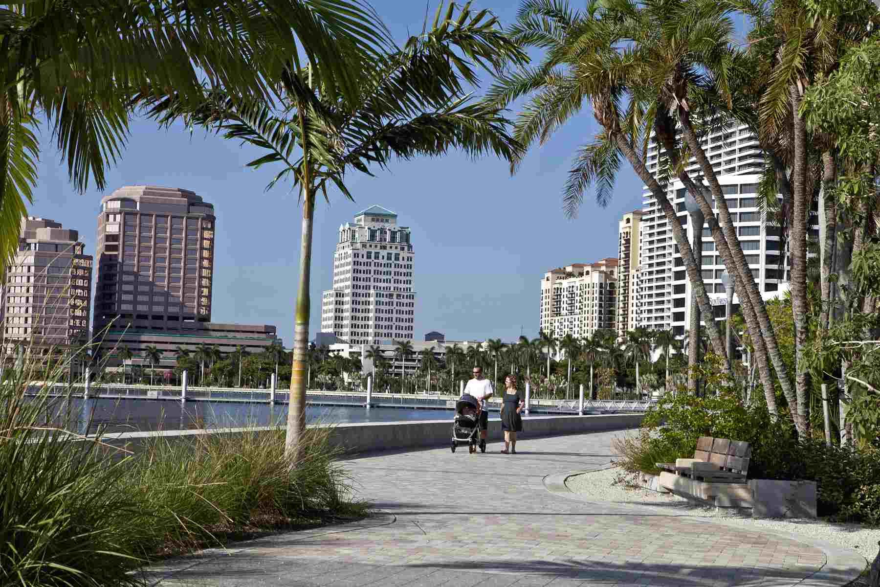 Walking along West Palm Beach