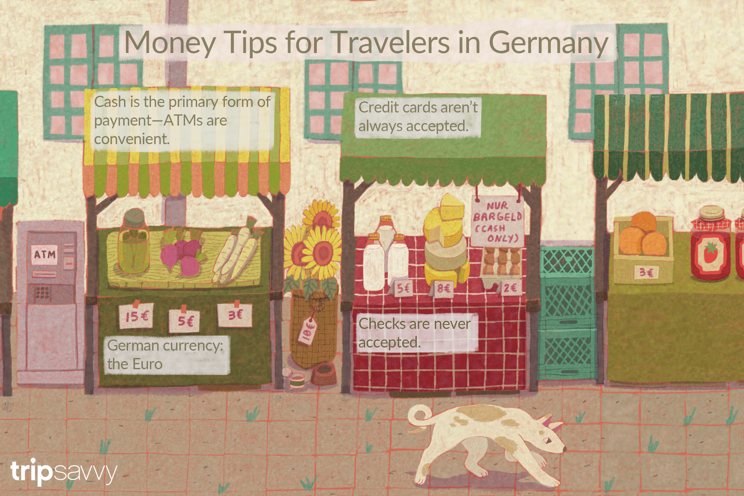 illustration of a market in Germany with tips from the article