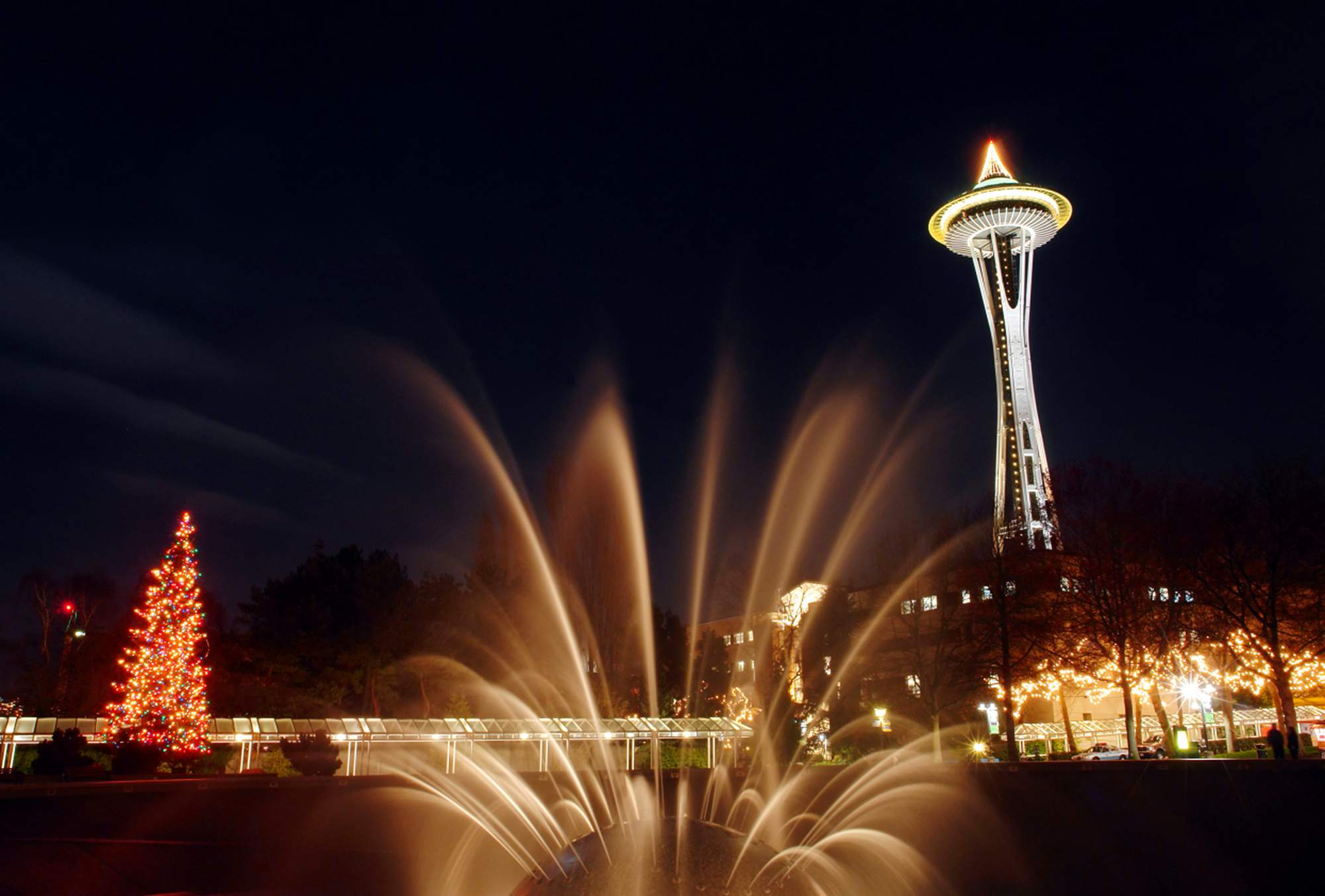 Seattle Center and the Space Needle Lit Up During Winterfest