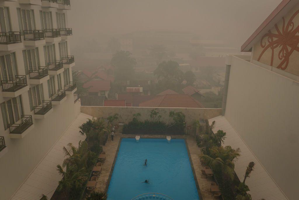 Haze in Palangkaraya, Central Kalimantan, Indonesia