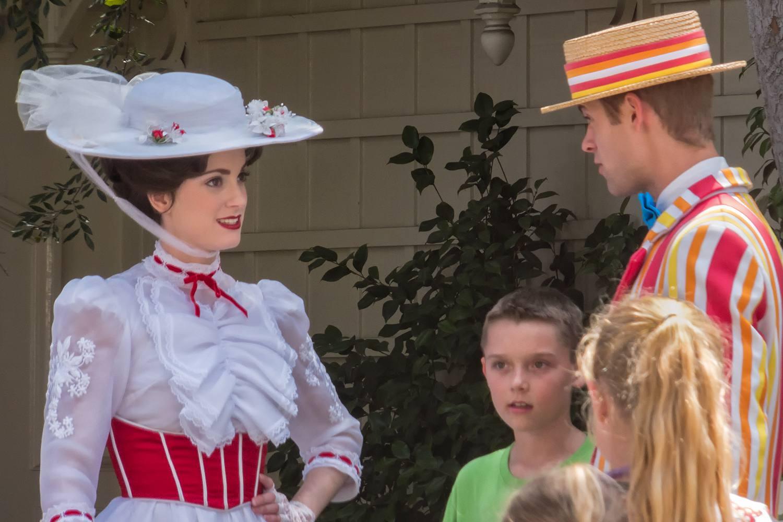 Mary Poppins and Bert Greeting Guests at Disneyland
