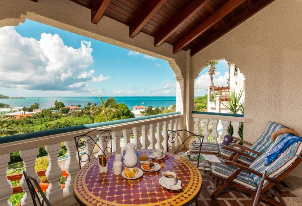Breakfast terrace overlooking grand case